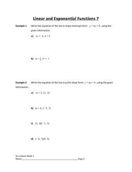 Linear and Exponential Functions Lesson 7 of 9
