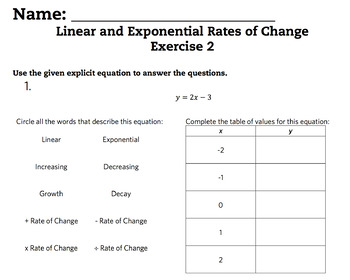Linear and Exponential Rates of Change Complete Bundled Unit Lessons 1-6