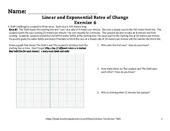 Linear and Exponential Rates of Change Lesson 6 of 6 Linear Context