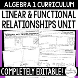 Linear and Functional Relationships Unit - Algebra 1