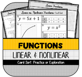 Linear and Nonlinear Functions Card Sort Activity