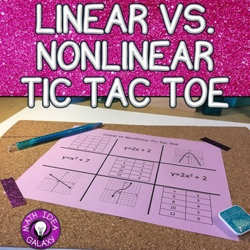 Linear And Nonlinear Functions Activity Tic Tac Toe By Idea Galaxy