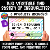 Linear and Systems of Inequalities Boom Cards, Google Quiz