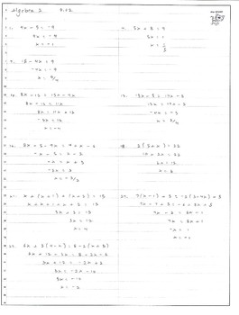 Algebra -- Linear equations -- One variable, first degree