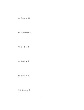 Linear equations (introduction) 2