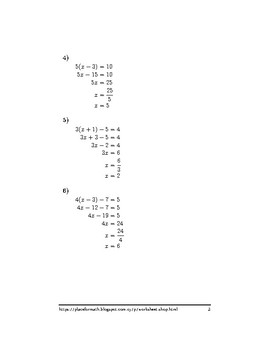 Linear equations with brackets