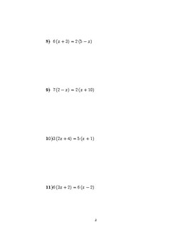 Linear equations with double brackets