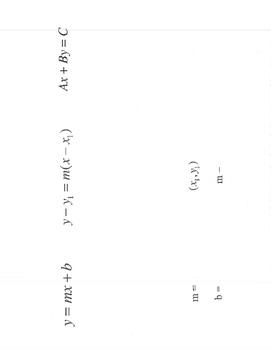 Linear forms foldable slope-intercept, point slope, standard organizer