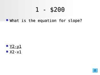 Linear functions, systems and inequalities Jeopardy