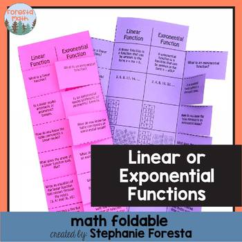 Linear or Exponential Function? Math Foldable