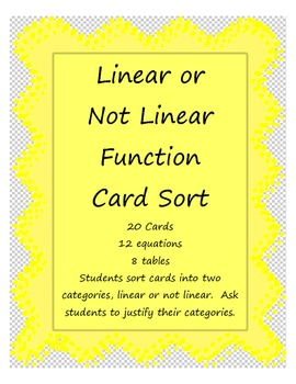 Linear or Not Linear Card Sort