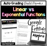 Linear vs Exponential Functions- Digital Assignment for use with Google Forms