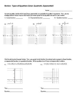 Linear vs. Exponential vs. Quadratic