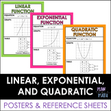 Linear, Exponential, and Quadratic Functions - Posters and Graphic Organizer