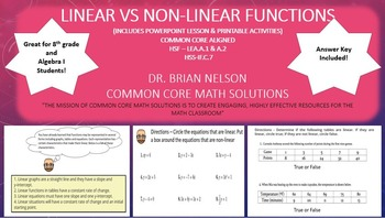 Linear vs Non-Linear Functions  - PowerPoint Lesson and Printables!