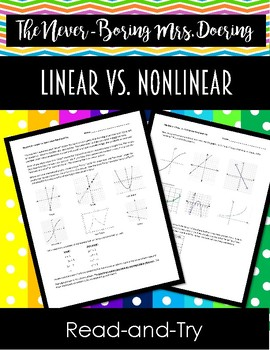 Linear vs. Non-Linear Graphs and Expressions Read-and-Try