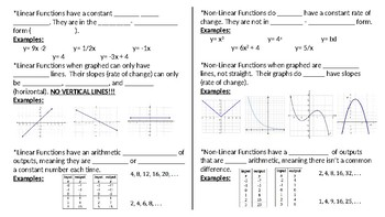 Linear vs Nonlinear Functions Foldable