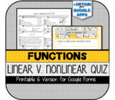 Linear vs. Nonlinear Functions QUIZ (Printable & Version for Google Forms)