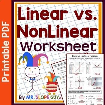 Linear vs. Nonlinear Functions Worksheet Go Math 8.F.B.5 Pre-Algebra