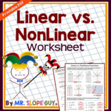 Linear vs. Nonlinear Functions Worksheet Go Math 8.F.B.5 P