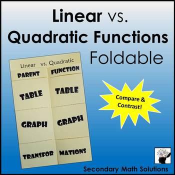 Linear vs. Quadratic Functions Foldable