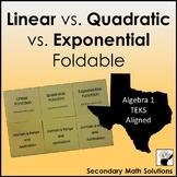 Linear vs. Quadratic vs. Exponential Functions Foldable (A3C, A7A, A9D, 2A.8A)