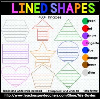 Lined Shapes: Geometric Shapes in Color and Black Lines