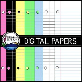 Lined Digital Paper Clipart Bundle