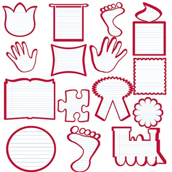 Lined Paper Frames Clip Art:  Add to your worksheets, covers and other resources