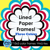 Lined Paper Frames Clip Art:  Add to your worksheets, cove