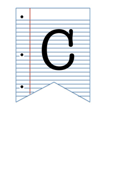 Lined Paper Letter Bunting
