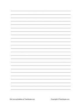 Lined Paper Portrait for Upper Elementary, Middle, and High School