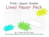 Lined Paper- Multiage - With line size, color, orientation, & picture box option