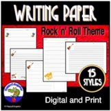 Writing Paper - Lined Paper - Rock and Roll Theme