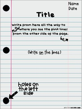 Lined Paper Set Up Posters English and French