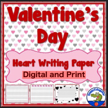 Writing Paper - Lined Paper - Valentine Heart Theme