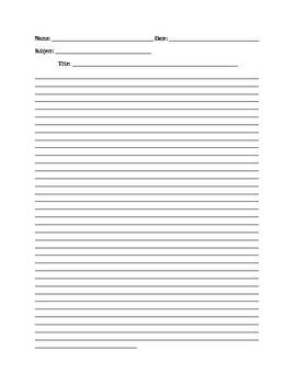 Lined Paper For Essays By Candys Worksheets  Teachers Pay Teachers