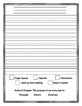 Lined Paper with Self Checklist for Authors Purpose
