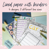 Lined Paper with coloring-in borders - Dotted thirds for handwriting, writing