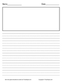 Lined Primary Writing Paper Portrait with Picture