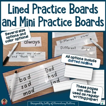 Lined White Boards and Mini White Boards