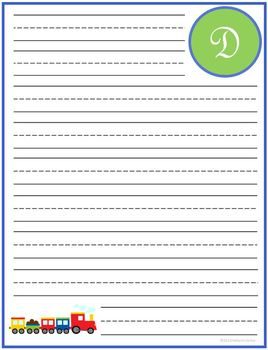 "Writing Lined Paper Personalized Boy ""D"""