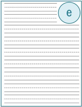 """Writing Lined Paper Personalized Boy """"E"""""""