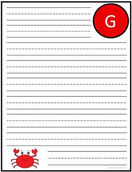 "Writing Lined Paper Personalized Boy ""G"""