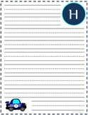 "Writing Lined Paper Personalized Boy ""H"""
