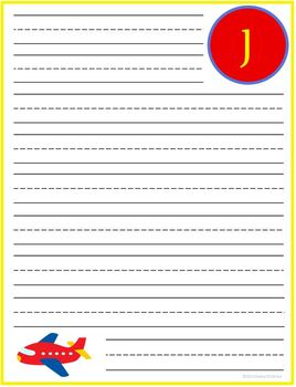 "Writing Lined Paper Personalized Boy ""J"""