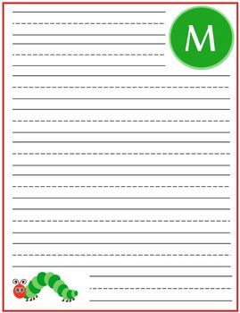 "Writing Lined Paper Personalized Boy ""M"""