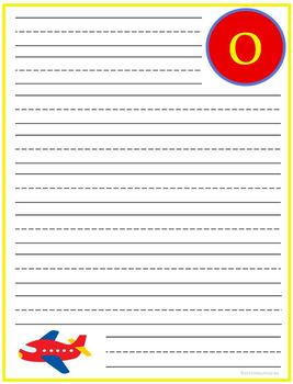 "Writing Lined Paper Personalized Boy ""O"""