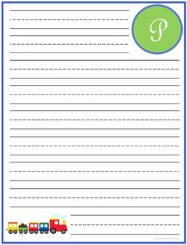 "Writing Lined Paper Personalized Boy ""P"""