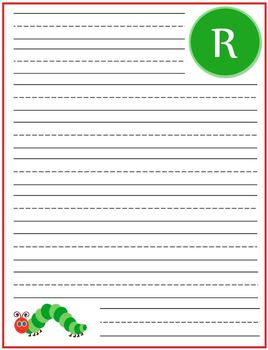 "Writing Lined Paper Personalized Boy ""R"""